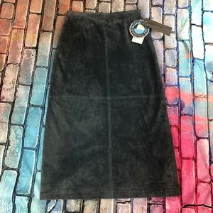 Brandon Thomas Soft Blue Leather Skirt Size 14